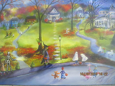 Folk Art Halloween Haunted Houses Moon Ghosts Fall Autumn Kids Lizzy Rainey - Halloween Art Kids