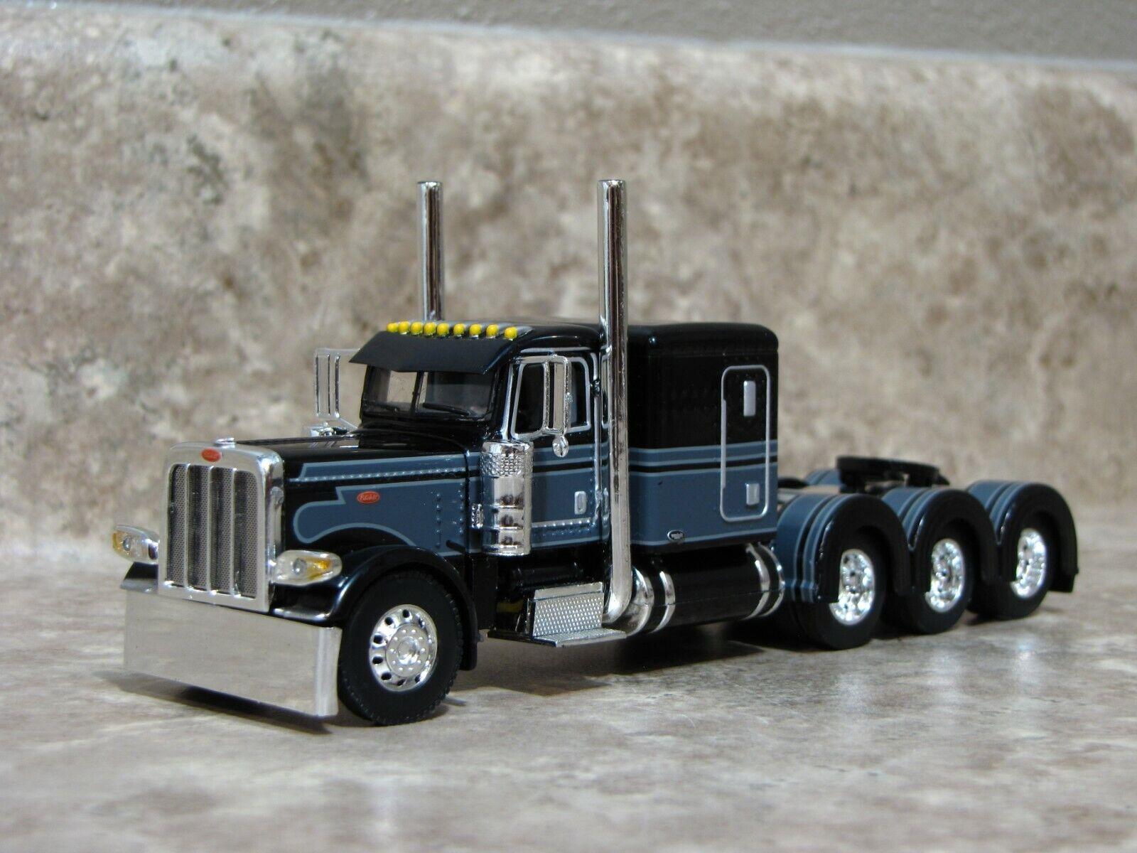 DCP 1/64 Black Gray Tri-Axle 389 Peterbilt Semi Truck Farm Toy