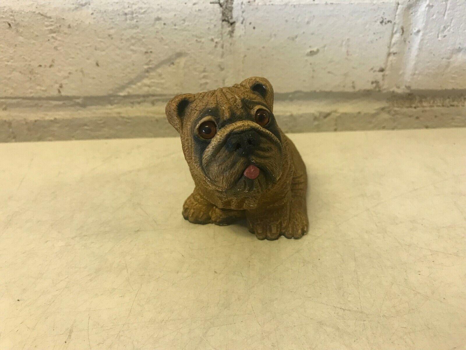 Vintage bandana bulldog anglais figurine assis 1984 signé