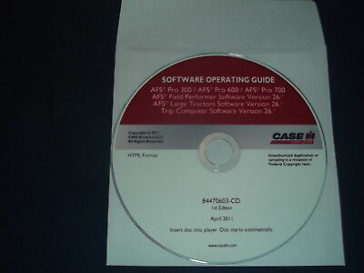 Case Afs Pro 300 600 700 Tractor Field Performer V. 26 Operating Guide Manual Cd