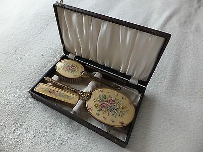 Vintage 4 Piece Petit Point Vanity / Dressing Table Set Boxed