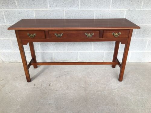 HARDEN FURNITURE SOLID CHERRY CHIPPENDALE STYLE 3 DRAWER CONSOLE TABLE