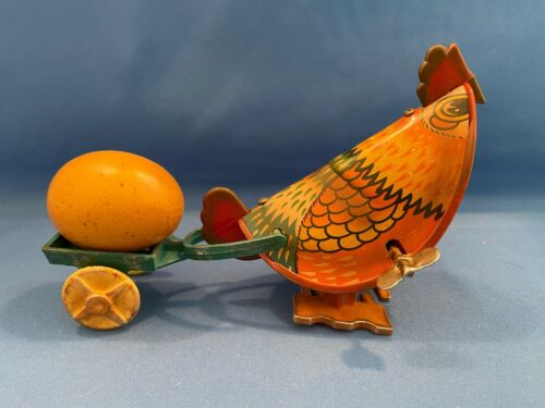 Chicken pulling Cart and Easter Egg Tin Metal Wind-up Toy Walking Hen