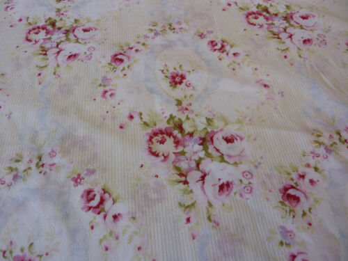 Yuwa Antique French Inspired Cameo Blue Ribbons Pink Roses Dobby Lawn Fabric BTY