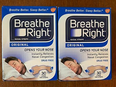 LOT OF TWO - BREATHE RIGHT ORIGINAL NASAL STRIPS. 30 LARGE TAN STRIPS Breathe Right Nasal Strips