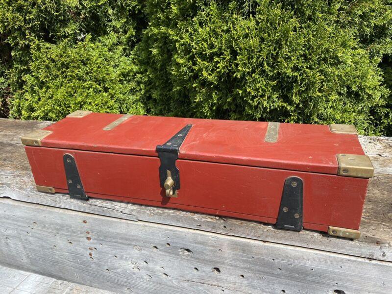 "Beautiful Vintage Red Box ~ Handmade w/ Brass Corners & Dovetail, 29""L & 16 lbs"