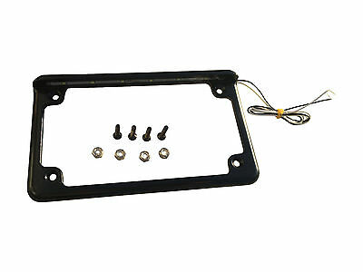 Custom Horizontal LED Light Motorcycle License Plate Frame Black Mount Holder