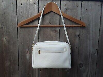 Gucci Vintage White Small Crossbody Zipper Shoulder Bag Purse