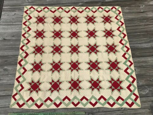 Antique Museum Quality Quilt Delectable Mountains Zigzag Border Red and White