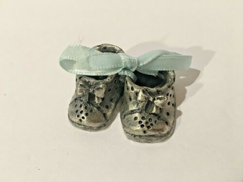 Pewter Mini Baby Shoes with Blue Ribbon Figurine