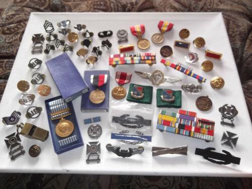 Vintage Large U.S. Military Medals Ribbons & Pins Lot U.N. Korea Medal In Box