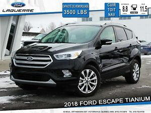 2018 Ford Escape Titanium **CUIR*TOIT PANO*NAV*CAM*AWD*HITCH**