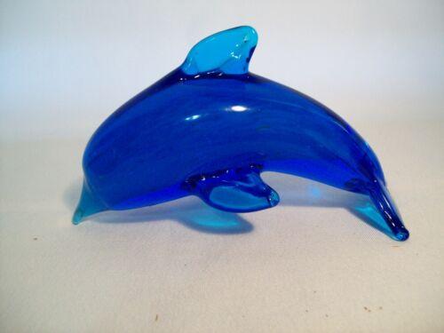 "Vintage Blue Swirl Dolphin Paperweight Blown Art Glass 5"" Long"