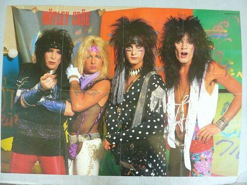 RARE MOTLEY CRUE 33 X 23 INCH 1986 VINTAGE ORIGINAL MUSIC MAGAZINE POSTER