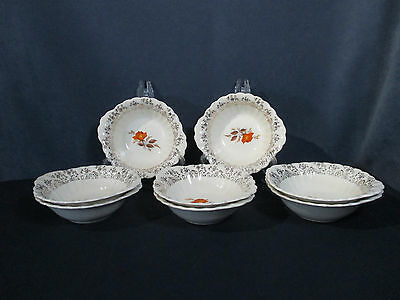 American Limoges Vermillion Rose Bowl Vintage Orange Rose Gold Filigree Set of 8