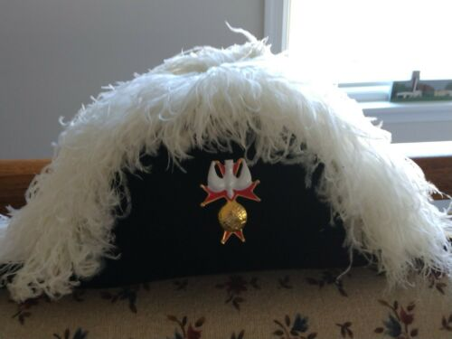 Knights Of Columbus 4th Degree Ostrich Plume Chapeau Size 7 1/4 Made in USA