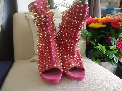 RARE Christian Louboutin Pink Rose Gold Spike Guerilla Boots Booties Heels 8 38