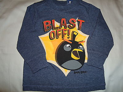 NWT 18-24 MON ANGRY BIRDS T SHIRT BLAST OFF! LONG SLEEVE TOP OLD NAVY TWINS BOYS