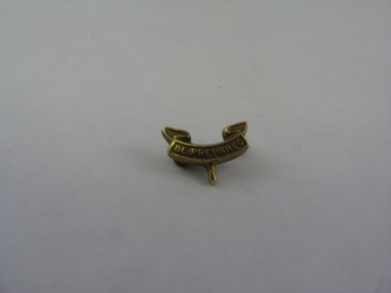 Tiny Vintage BSA Boy Scouts BE PREPARED Gold Tone Pin Award Jewelry