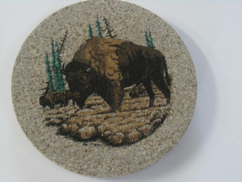 Thirstystone Sandstone coaster Bison Buffalo Set of 4 Round New Wildlife