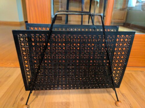Vintage Black Metal Magazine Rack