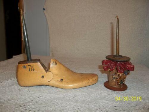 Antique Wooden Shoe Form & Thread Spool