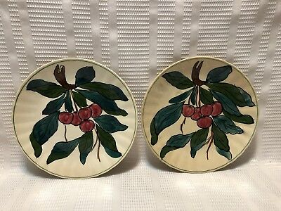 Blue Ridge Southern Potteries-Hand Painted/Fluted Edge-Red Cherries-Salad Plates