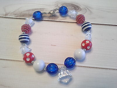 bubblegum chunky bead necklace gem toddler girl 4th of july patriotic US SELLER (Bubblegum Necklace Beads)