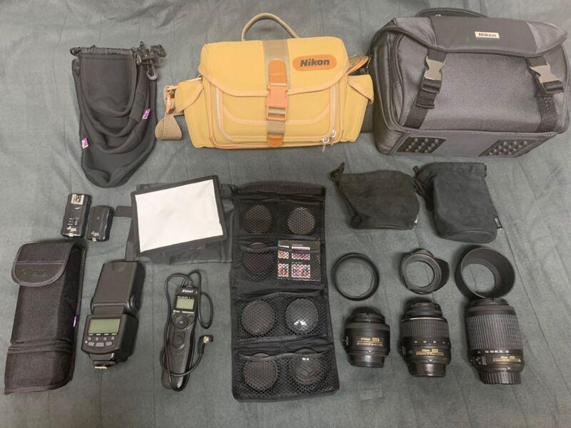 Nikon 3 NIKKOR Lens Accessories Bags Flash Bundle LOT