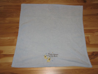 LITTLE BEGINNINGS BABY BLUE BLANKET THANK HEAVEN FOR BOYS STAR PUPPY DOG FLEECE