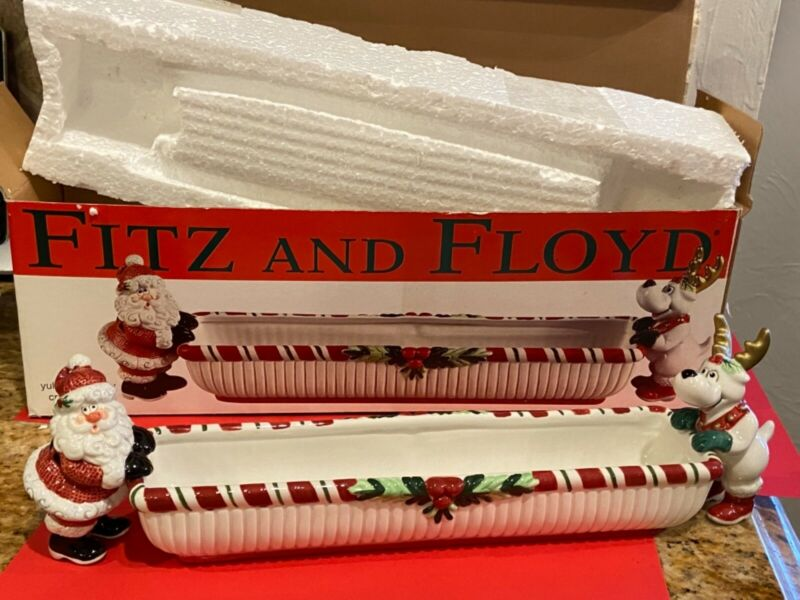 Fitz And Floyd Christmas Yuletide Holiday Set Cracker Cradle Server