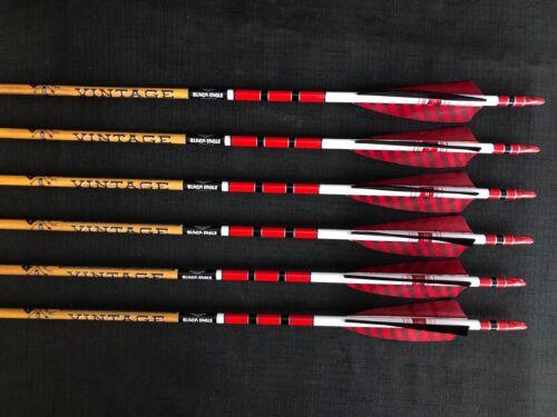 Black Eagle Vintage 400 .005 Fletched/Crested Arrows 1/2 Dozen BRAND NEW