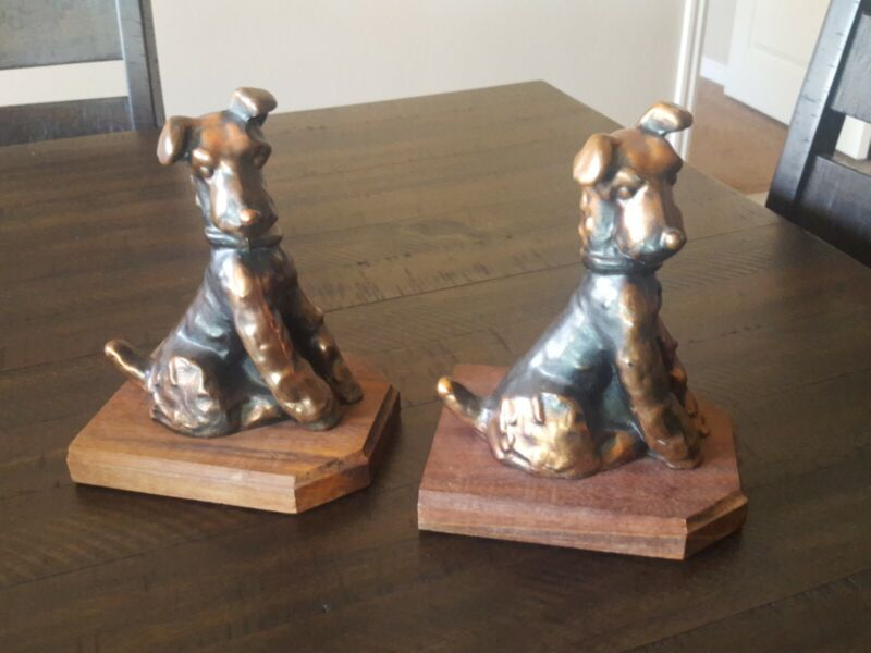 Vintage Bookends Dog  Terrier,Airedale,Fox,Welsh.