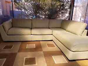 Cream Leather L Shape Lounge Hillman Rockingham Area Preview