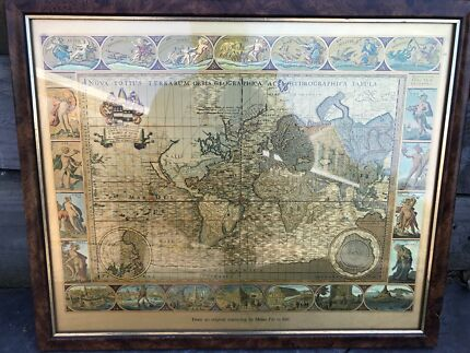 Blaeu wall map art gumtree australia boroondara area hawthorn gold framed map publicscrutiny Images