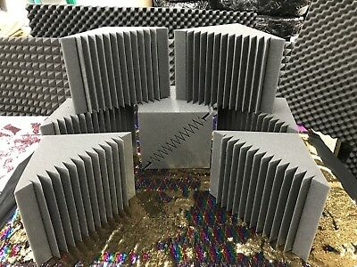 "8 Pack Bass Trap Acoustic Foam Recording Studios Corner Panel 12"" X 12"" X 12""."