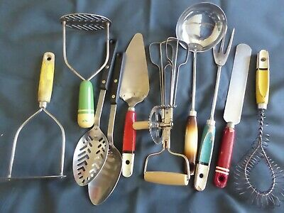 Job Lot 10 x Vintage SKYLINE /PRESTIGE Kitchen Utensils with wooden hand+ Whisk