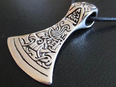 Axt Amulett 925'er Silber Gross beidseitig+Lederband  Wikinger Anhänger/ KA 294