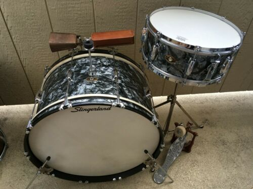 1958 SLINGERLAND BLACK DIAMOND PEARL BASS & SNARE, COLLECTOR QUALITY