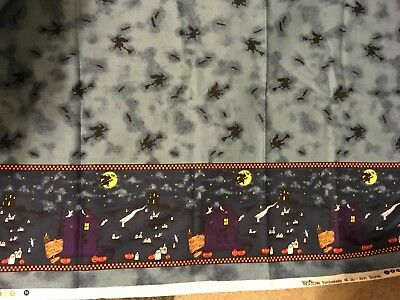 Halloween Spooky Hollow Witchs blue background houses Border fabric 1 yards 20""