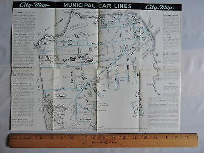 1941? San Francisco CA California Trolley Railway Bus Brochure + 12x16 Map Owl