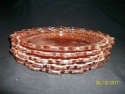 LOT OF 5 PINK DEPRESSION GLASS DINNER PLATES LACE EDGE OPEN LACE OLD COLONY