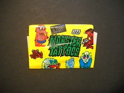 1970'S MONSTER TATTOOS WAX PACK TOPPS  *VERY RARE*  (I JUST HAVE THE ONE PACK)