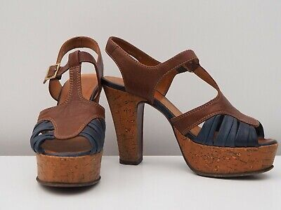 CHIE MIHARA * Lovely leather platform sandals / heels * Size 38 - US 8