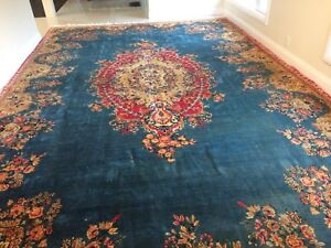 Antique Kerman Persian rug 12 by 20 HUGE price REDUCED