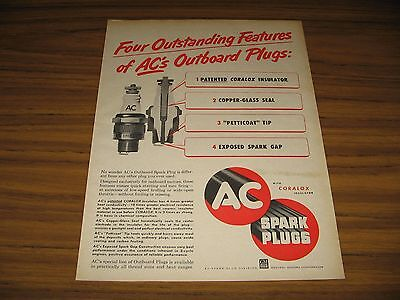 1952 Print Ad AC Outboard Motor Spark Plugs General Motors GM