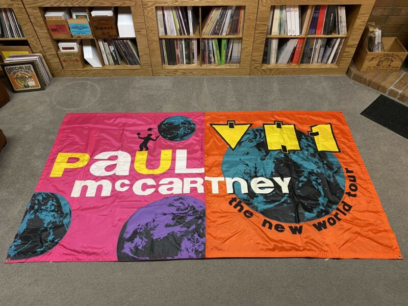 1993 Paul McCartney The New World Tour Promo Banner - LARGE 108 X 60 RARE