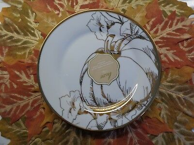 CIROA LUXE GOLD BOTANICAL FLORAL PUMPKIN THANKSGIVING SALAD SIDE PLATES SET 4
