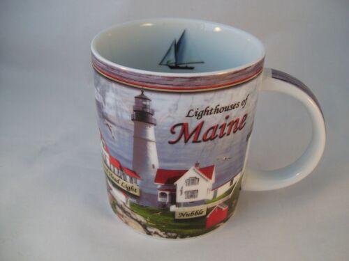 Cape Shore Lighthouses of Maine Porcelain Coffee Mug Sailboat