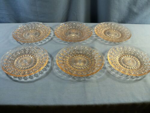 Set of 6 Jeannette Glass HOLIDAY Buttons & Bows Pink Sherbet Plates